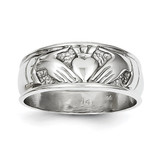 Ladies Claddagh Ring 14k White Gold D3114