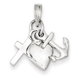 Faith, Hope & Charity Charm 14k White Gold D3294