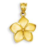 Plumeria Floral Charm Pendant 14k Gold D331