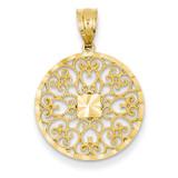 Fancy Filigree & Diamond Cut Charm 14k Gold D3348