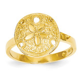 Sand Dollar Ring 14k Gold Polished D335