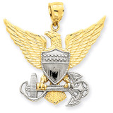 US Navy Eagle Pendant 14k Two-Tone Gold D3408