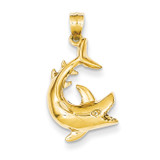 Shark Pendant 14k Gold D3412