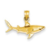 Shark Pendant 14k Gold D3413
