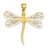 Diamond-cut Filigree Dragonfly Pendant 14k Two-Tone Gold D3433
