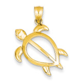 Open Turtle Pendant 14k Gold D3436