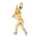 Female Baseball Batter Charm 14k Gold D3476