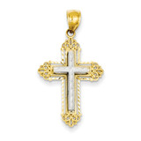 Fleur De Lis Cross Pendant 14k Two-Tone Gold D3532