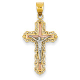 Diamond-cut Crucifix Pendant 14k Tri-Color Gold D3644