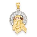 Diamond-cut Christ Charm 14k Tri-Color Gold D3702