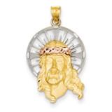 Diamond-cut Christ Charm 14k Tri-Color Gold D3703