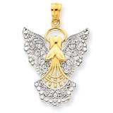 Rhodium Filigree Angel Pendant 14k Gold D3720