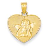 Small Angel Charm 14k Gold Polished & Satin D3729