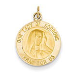 Our Lady of Sorrows Medal Charm 14k Gold D3758