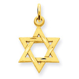 Star of David Charm 14k Gold Solid Satin D38