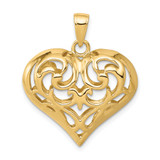 3-D Diamond-cut Open Filigree Heart Pendant 14k Gold D3821