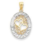 Happy Anniversary Hearts Pendant 14K Gold & Rhodium D3890
