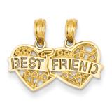 Best Friend Breakable Double Hearts Pendant 14k Gold D3891