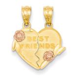 Best Friends break apart Heart Pendant 14k Two-Tone Gold D3892