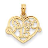 Sweet 15 in Heart Pendant 14k Gold D3910