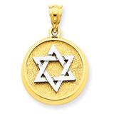 Solid Satin Finish Flat Back Star of David Disc Charm 14k Two-Tone Gold D40