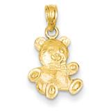2-D Teddy Bear Pendant 14k Gold D4002