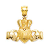 Claddagh Pendant with Textured Crown 14k Gold D4040