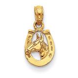 Horseshoe with Horse Head Pendant 14k Gold D4048