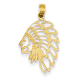 Cut-out Head Dress Pendant 14k Gold D4081
