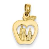 New York Skyline in Apple Pendant 14k Gold D4083