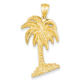 Large Palm Tree Pendant 14k Gold D4093