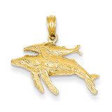 Mother and Baby Humpback Whale Pendant 14k Gold D4130