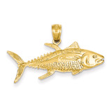 Yellowfin Tuna Fish Pendant 14k Gold D4144