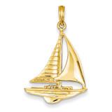 2-D Sailboat Pendant 14k Gold D4156