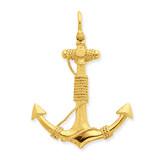 3-D Solid Anchor with Rope Pendant 14k Gold D4166