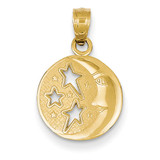 Flat-Backed Moon with Three Stars Pendant 14k Gold Polished D4184