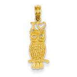 I Heart Owl Pendant 14k Gold D4198
