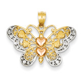 Two-tone Butterfly Pendant 14K Gold & Rhodium D4201