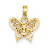 Butterfly Pendant 14k Gold Diamond-cut D4207