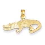 Textured Alligator Pendant 14k Gold D4214
