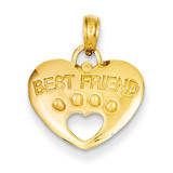 Best Friend on Heart with Cut-Out Paw Pendant 14k Gold D4229