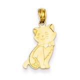 Sitting Cat Pendant 14k Gold D4239