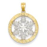 Joy Peace Love Faith Snowflake Pendant 14K Gold & Rhodium D4243