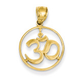Cut-out Round Frame Yoga Symbol Pendant 14k Gold D4264