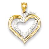 Diamond Cut Heart Pendant 14k Two-Tone Gold D4354