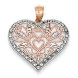 Rhodium Plated Diamond Cut Fancy Heart Pendant 14k Rose Gold D4358