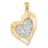 Diamond Cut Heart Pendant 14k Two-Tone Gold D4359