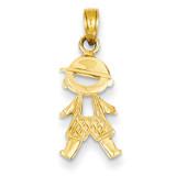 Boy Pendant 14k Gold Polished & Textured D4367