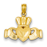 Claddagh Pendant 14k Gold Polished & Textured D4368
