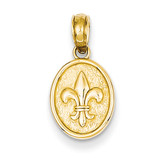 Small Fleur De Lis in Oval Pendant 14k Gold Polished D4369